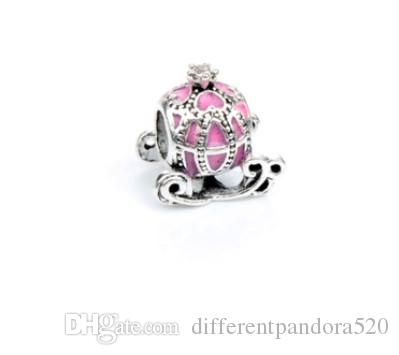 Fit Pandora Charm Bracelet European Silver Bead Charms Cinderella's Pumkin Car Beads DIY Snake Chain For Women Bangle & Necklace Jewelry