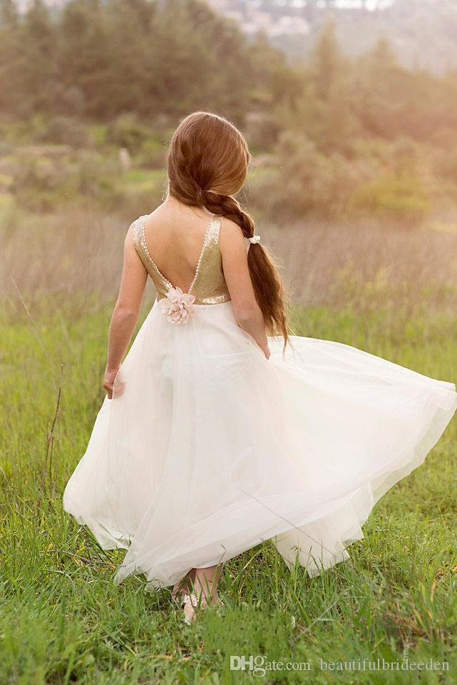 Newest Flower Girls Dresses For Weddings Princess Style Boat Neck Backless Gold Sequins On Top Tulle A-Line Sleeveless 2016 White Dresses