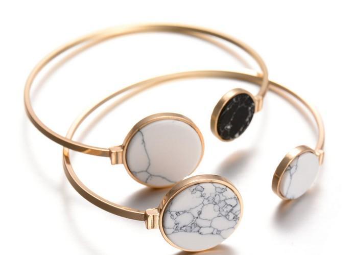 Nuevo triángulo de aleación de oro de la vendimia y redondo blanco negro turquesa piedra mármol mármol brazalete brazalete ajustable brazalete joyas BQ