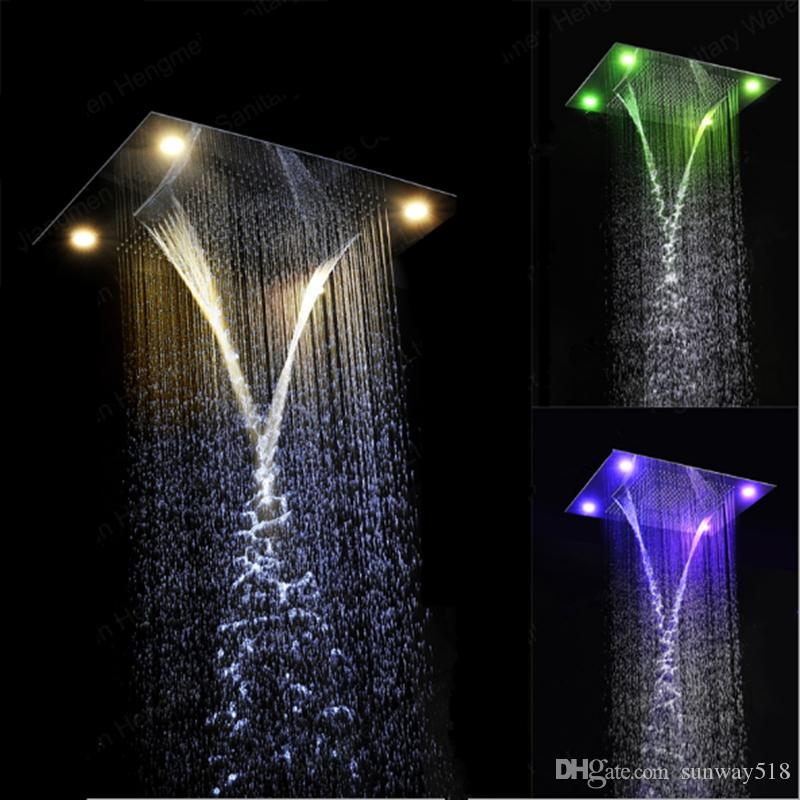 Online Cheap 31 Large Rain Shower Set Waterfall Led Recessed Ceiling Mount  4 Function Shower Head,Remote Control,Classic Design 600x800mm By Sunway518  ...