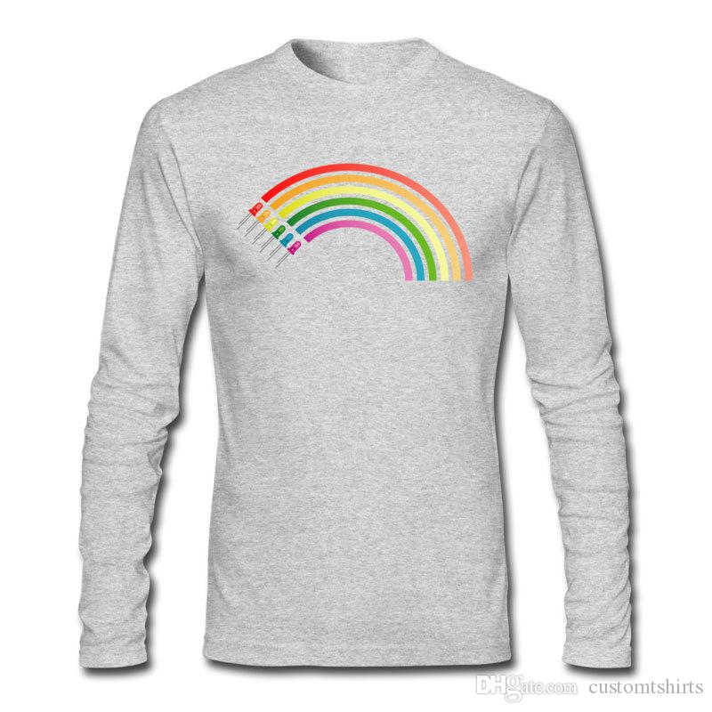 Round Neck Cotton T-shirts Colorful Rainbow Printing Shirts Size S to 6 XL Hip Hop Dressing Shirts