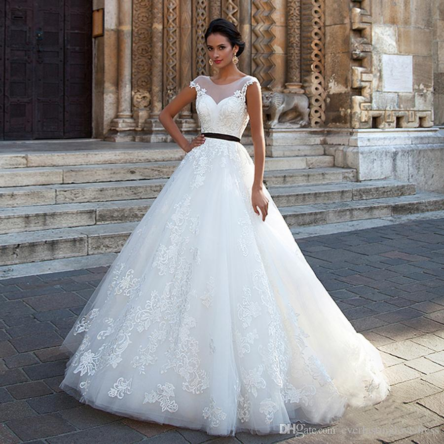Elegant Ball Gowns Applique Lace Wedding Dress Tulle With Black Sash