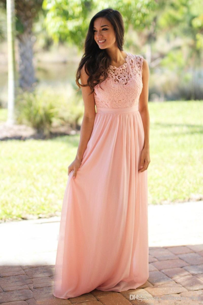 2019 Blush Pink abiti da sposa Boemia Jewel cap maniche pavimento-lunghezza Chiffon Long Beach Garden Invitato a un matrimonio cameriera d'onore abiti