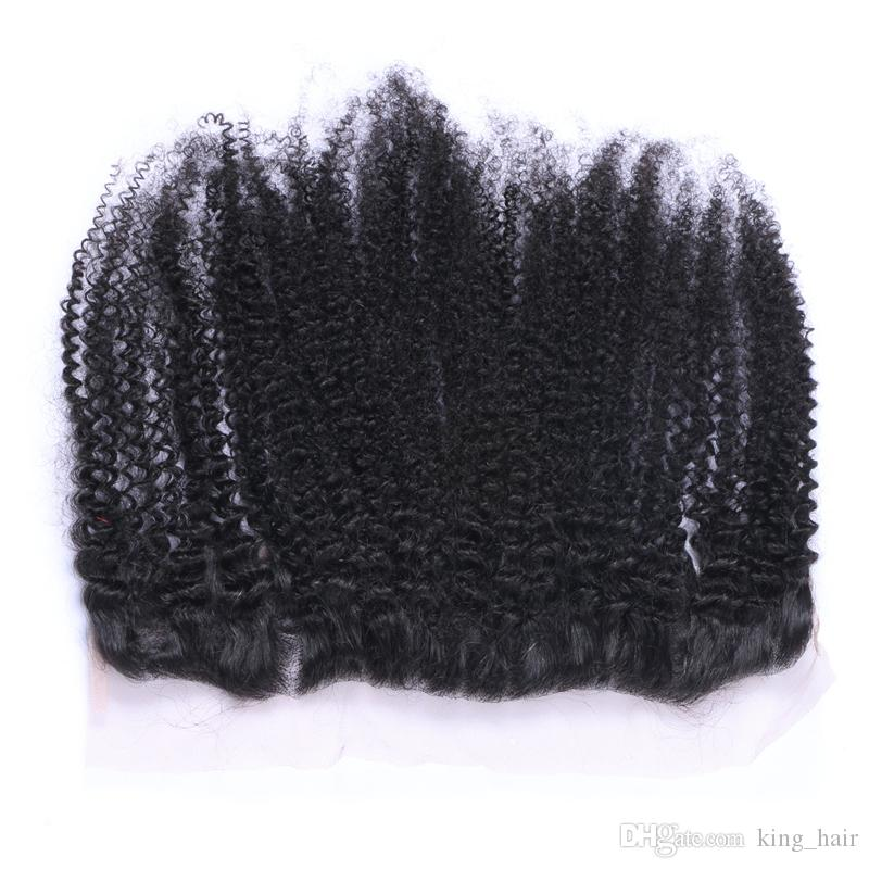 Kinky Curly 8A Virgin Hair Bundles With Lace Frontals Ear To Ear Lace Frontal With Hair Weaves For Black Woman