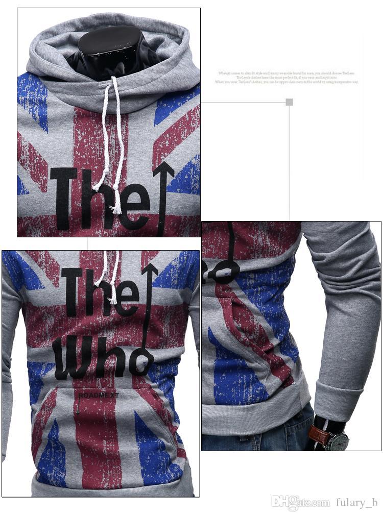 Il nuovo uomo Hoodies Felpe maglione Union Jack stampa Cotone casual con cappuccio maglione copertura Abbigliamento uomo Abbigliamento