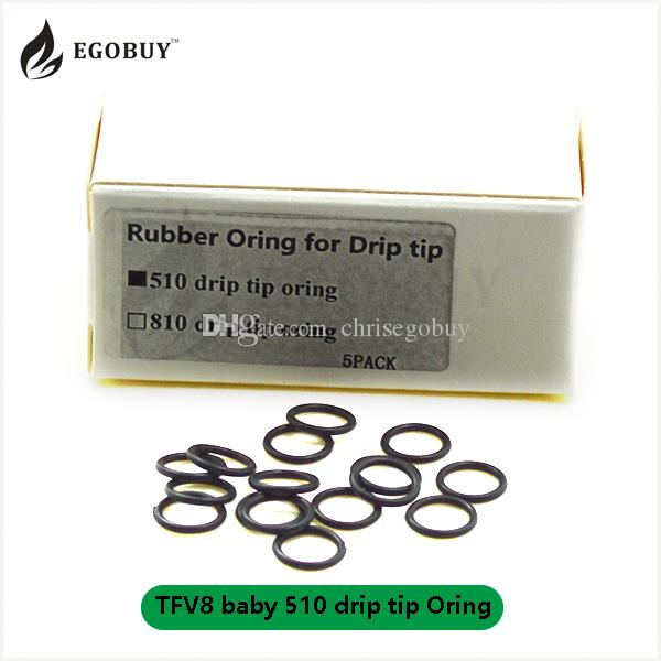 Ecigs replacement TFV8 baby 510 drip tip rubber oring 528 o-rings TFV8  TFV12 810 drip tips orings TFV8 x-baby big baby silicone driptip