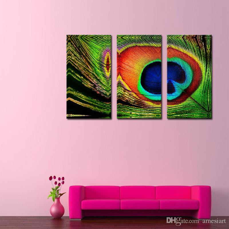 3 Picture Combination Red Modern Canvas Painting Wall Art The Picture  Closeup Beautiful Peacock Feather On Canvas For Wall Decor Abstract  Paintings Canvas ...