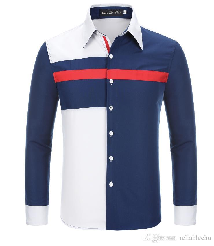 Gömlek Erkekler Üç Renk Çarpışma Tasarım Uzun Kollu Patchwork Tasarım Kısın Yaka Tek Göğüslü Adam Elbise Gömlek Ücretsiz Kargo