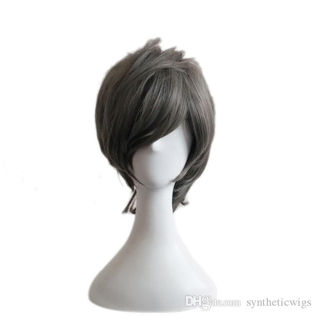 WoodFestival anime cosplay wig men short grey wig heat resistant natural cheap hair wigs synthetic fiber harajuku wigs