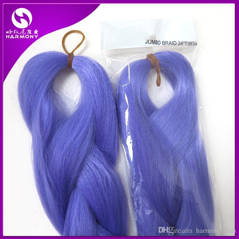 100% Kanekalon Jumbo Braid Hair 24 дюйма Синтетическое наращивание волос для наращивания волос Kanekalon LAVENDER Цвет Плетение волос T3834