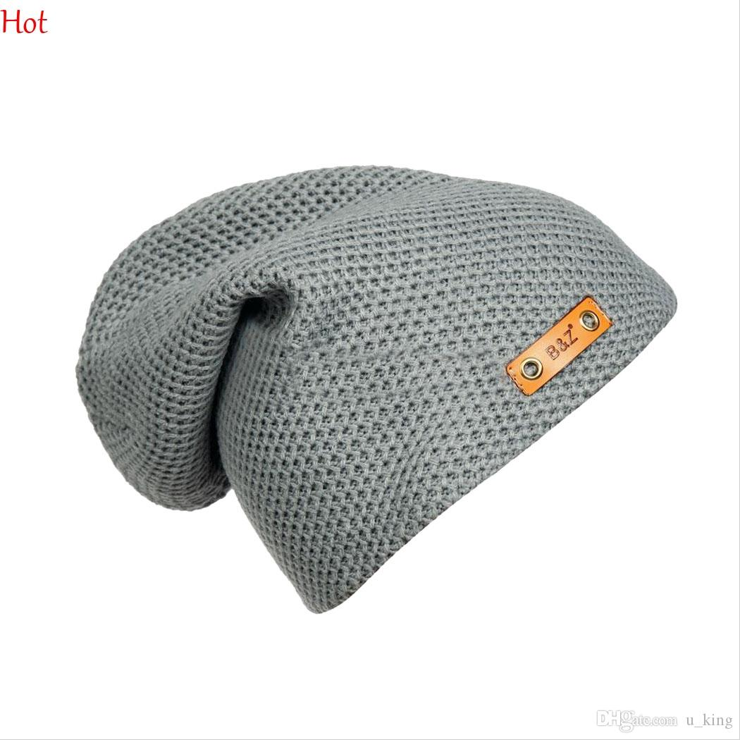 b6fa1edbbb0 Hot Fashion Fall Winter Unisex Baggy Beanie Oversize Hat Ski Knitting  Slouchy Cap Hip Hop Chapeu Hollow Out Hat Leather Label Sale SV028665 Beanie  Cap Watch ...