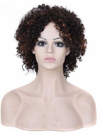 Xiu Zhi 메이 짧은 변태 둥근 가발 아프리카 계 미국인 저렴한 가발 합성 섬유 짧은 아프리카 흑인 곱슬 머리 가발 흑인 여성을위한