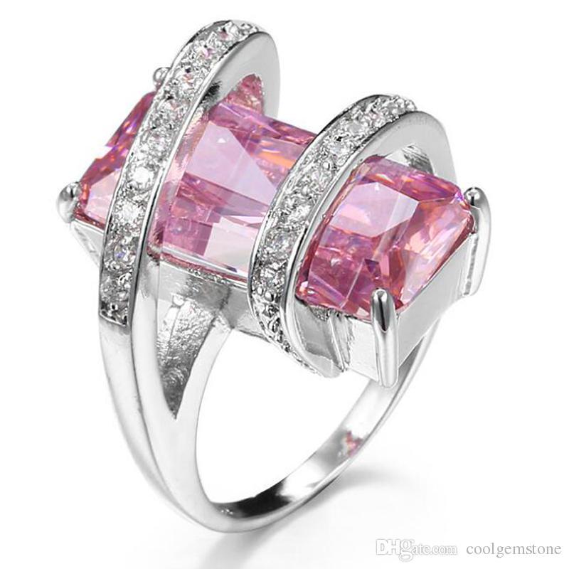 Anelli da donna unici da uomo Tre colori Argento sterling 925 London Blue Topaz Pink Topaz Morganite Gemstone Wedding Rings