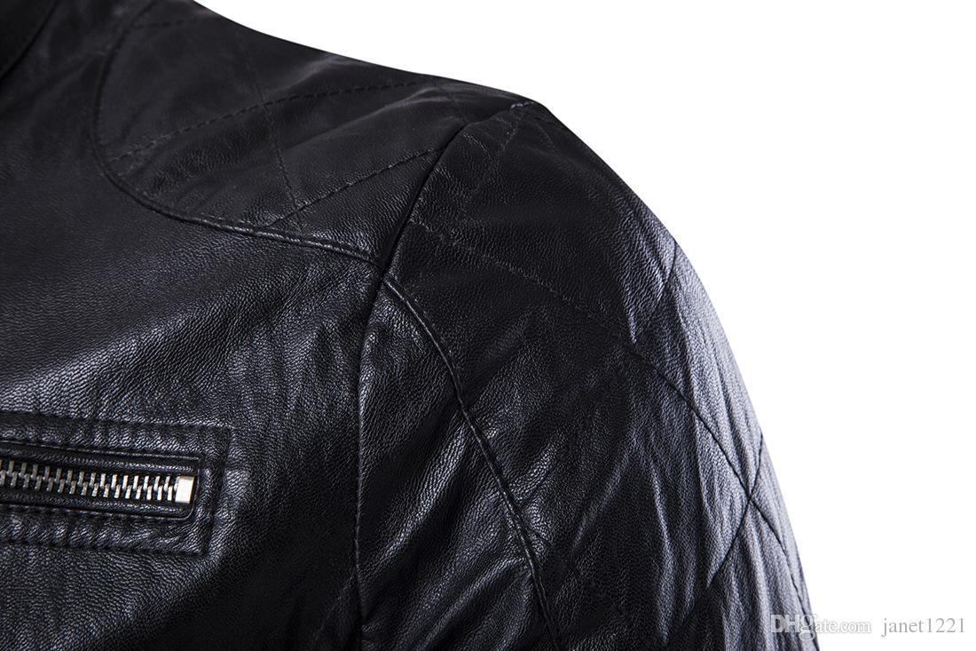 Leather Jackets For Men Stand Collar Wild European PU Men Jackets Winter Personalize Zipper Desgin Leather Motorcycle Men Jacket J161016