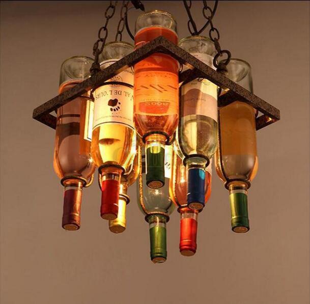 Loft Painted Glass Wine Bottle Pendant Light Industrialstyle Glass  Chandelier Decor Personality Pendant Lamp For Bar Restaurant Cafe Ceiling Pendant  Light ...