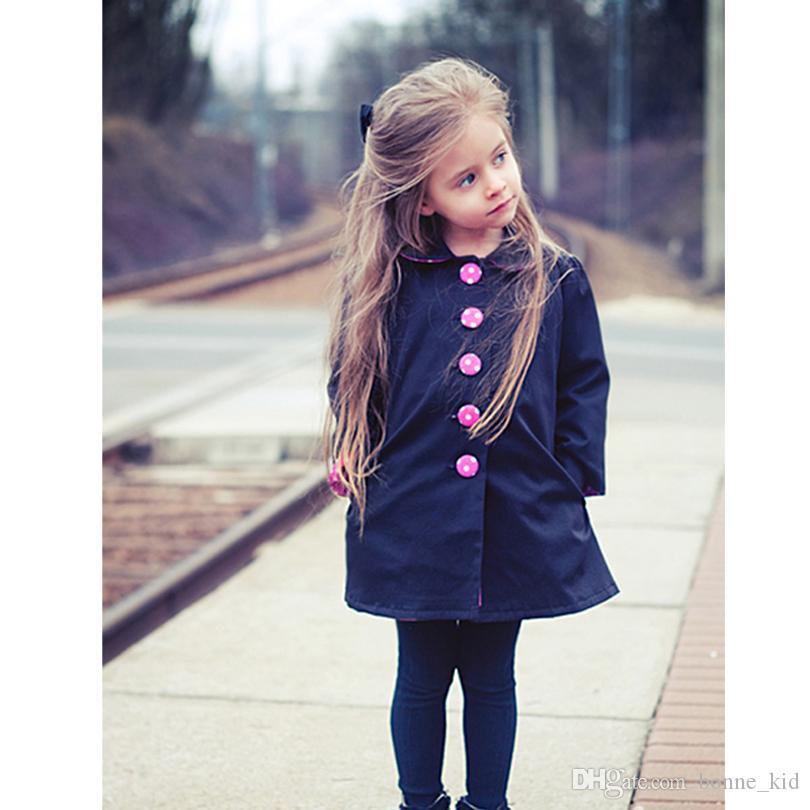 Mädchen Winter Mantel Outfit Kind Marine Mantel Rosa Knopf Langarm Topcoat Fabrik Großhandel Kinder Kleidung Kinder Kleid Cappa styleonme