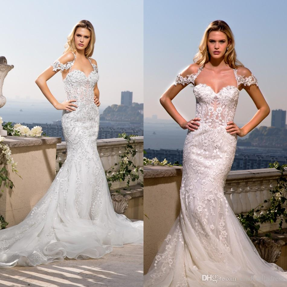 56c8b1a980c y Eve Of Milady Spaghetti Straps Lace Wedding Dresses Off Shoulder Applique  Beading Custom Made Bridal