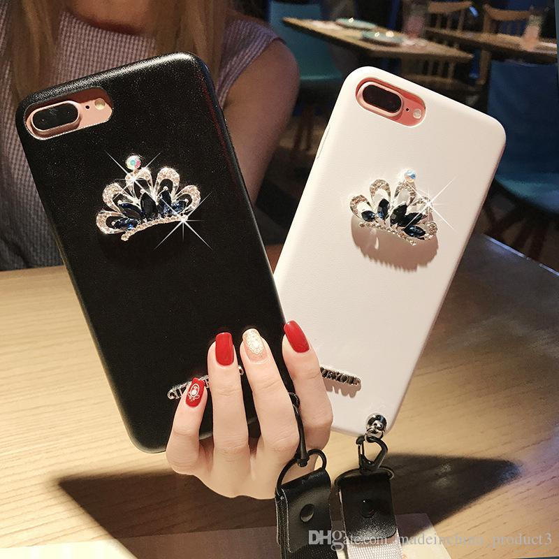 Luxury Crystal Diamond Crown Case for iphone X 8 7 6s 6 plus Soft TPU+PU Phone Back Cover with Rhinestone Straps