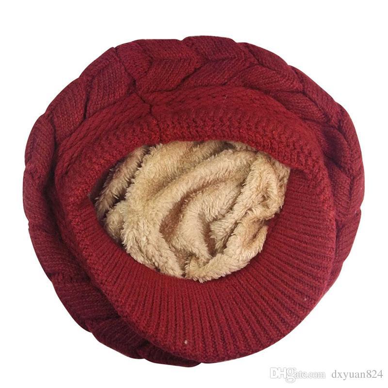 Women Girls Winter Warm Knit Hats Wool Snow Ski Caps Baggy Beret Thick Soft Fleece Lining Stripe Skull Hats with Visor