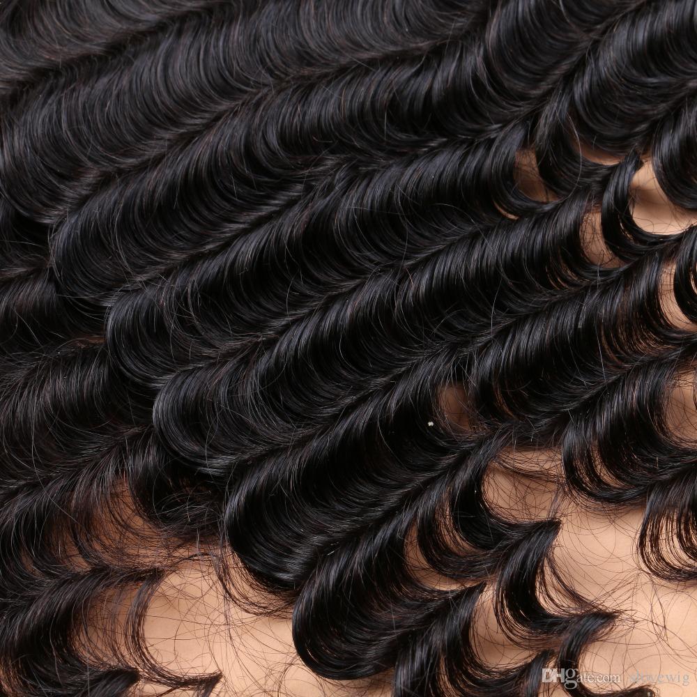 100% 7A Femmes Brésiliennes non transformées de cheveux humains avec fermeture en soie vague profonde, fermeture en soie avec des faisceaux cheveux tisse en Stock