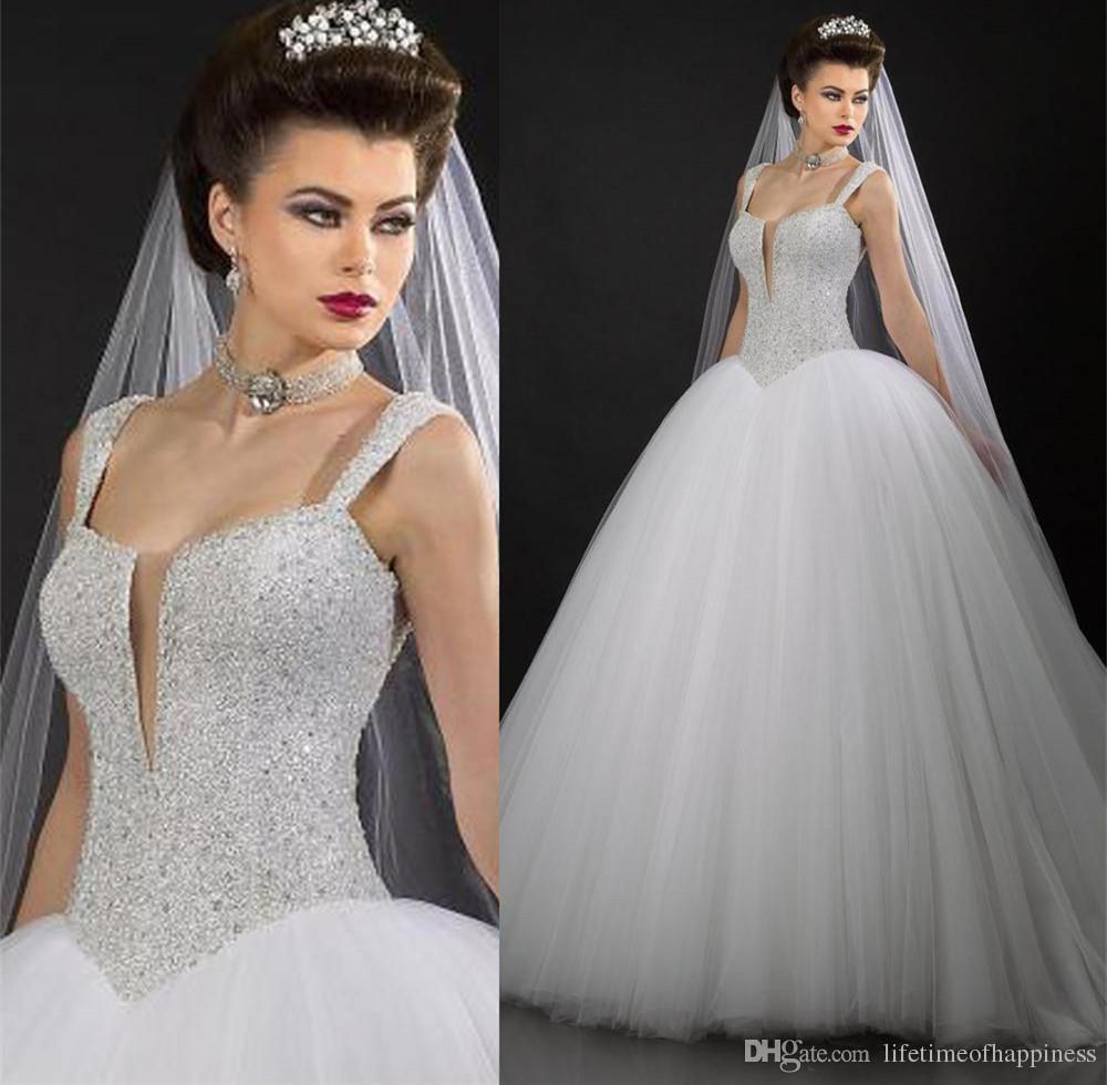 Discount 2017 Corset Rhinestone Bling Wedding Dresses White Straps Ball Gown Beads Sexy Bridal Dress Tulle Floor Length Vestido De Noiva Designer