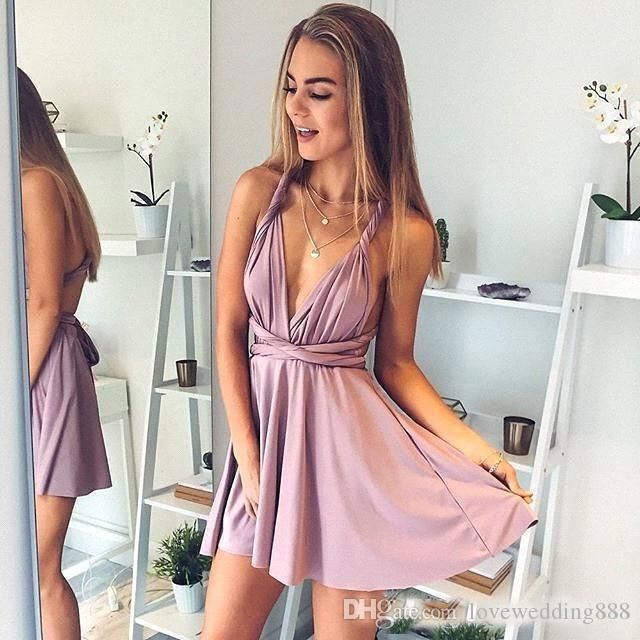 2018 Sexy Blush Pink Short Prom Homecoming Dresses A Line Spaghetti Straps Mini Cocktail Dress Graduation Gown