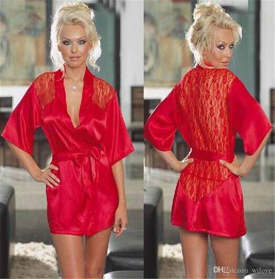 Mulheres Sexy Lingerie Erótica Plus Size Langerie Kimono Vestido De Cetim Preto Sleepwear Pijama para As Mulheres Baby Doll G Cordas