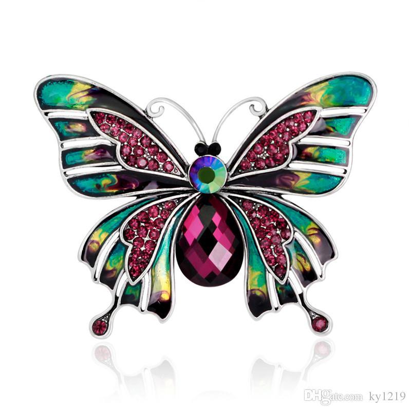 Großhandel Kristall Strass Schmetterling Broschen Für Frauen Hohe Qualität Voller Diamanten Insekt Brosche Pins Marke Schal Clips Schmuck