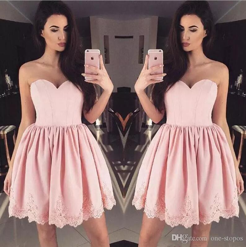Short Blush Pink Junior Homecoming Dresses Satin Sweetheart Lace ...