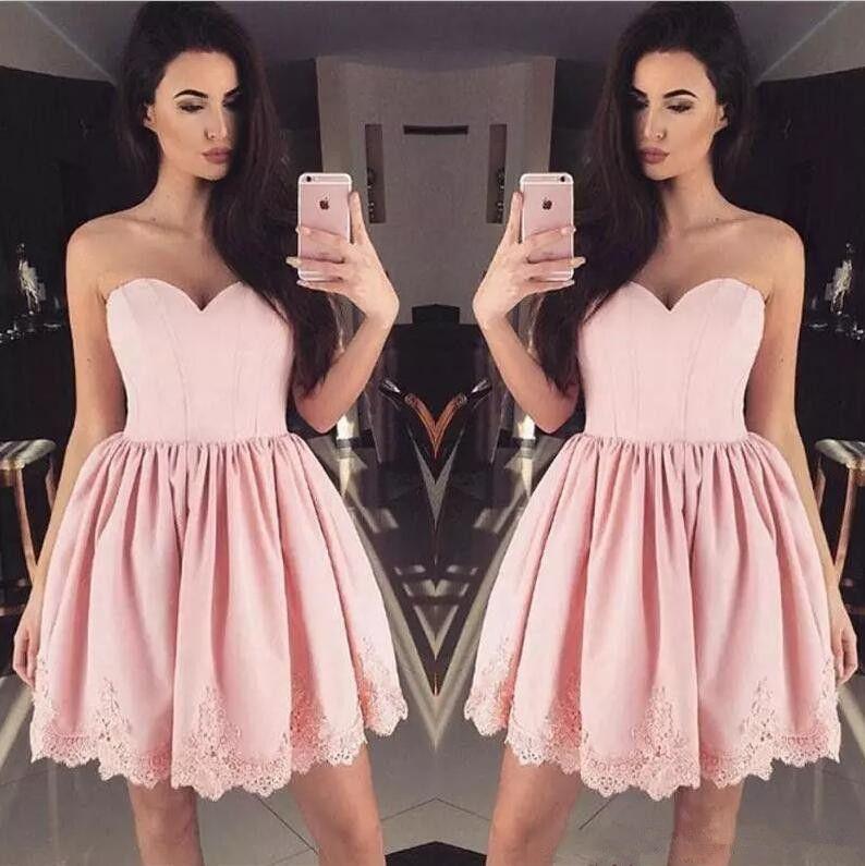 Compre Short Blush Pink Junior Vestidos De Regreso Al Hogar Satén ...
