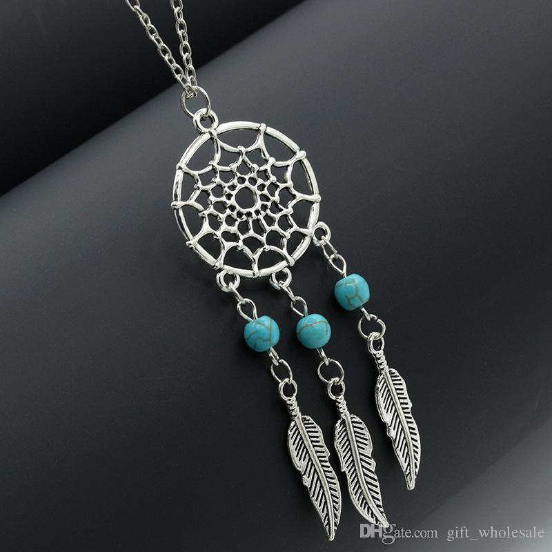 6 Stili Collane dichiarazione dream catcher hot dreamcatcher argento antico ali turchesi piume lunghe collane ciondolo le donne