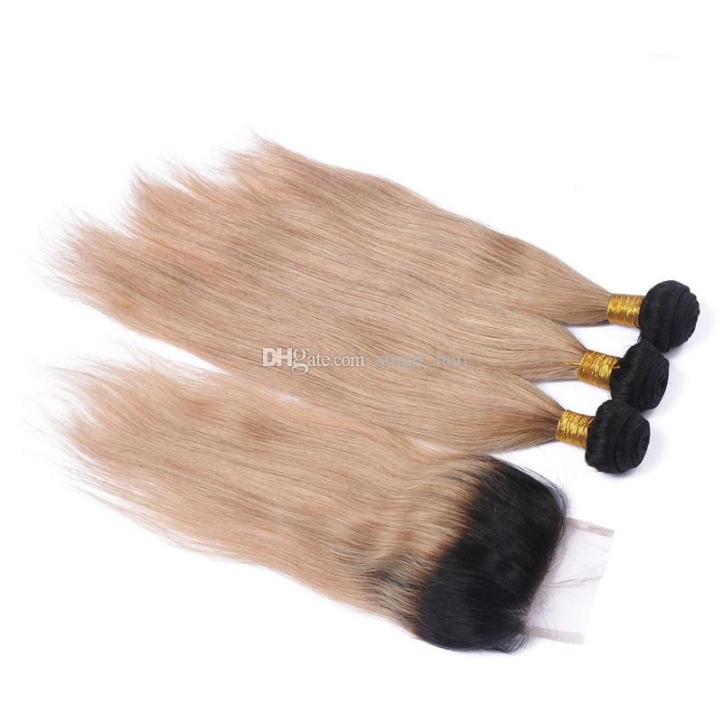 Ombre Silky Straight Hair With Closure Two Tone 1B/27 Honey Blonde Dark Roots Ombre Human Hair Bundles With Lace Closure