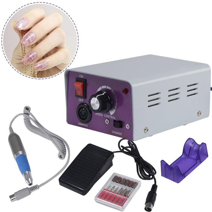 Factory Price!!! Cheap Nail Drill Glazing Manicure Electric Tool File Machine Foot Pedal Bit 30000RPM Professional Nail Art DHL