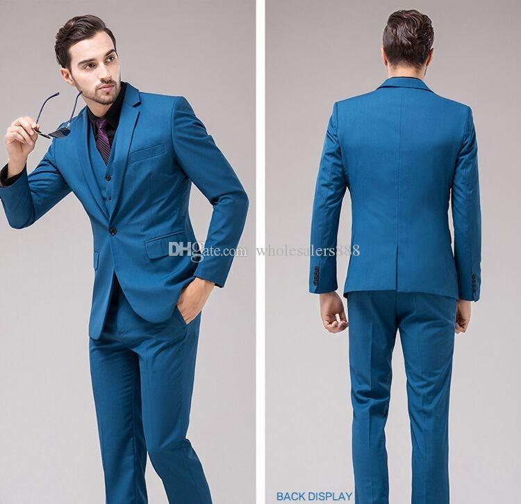 Groomsmen Slim Fit Teal Groom Smoking Smoking Notch Risvolto Suit uomo One Button Best Man Abiti da sposa / cena (Jacket + Pants + Vest) J883