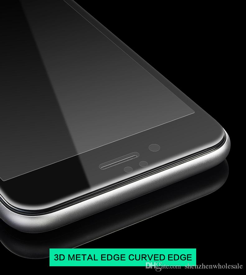 """Front Screen Protector for Smart Phone Cell Phone Tempered Glass Full Cover 4.7"""" 3D Curved color metal Edge Titanium Protective Film"""