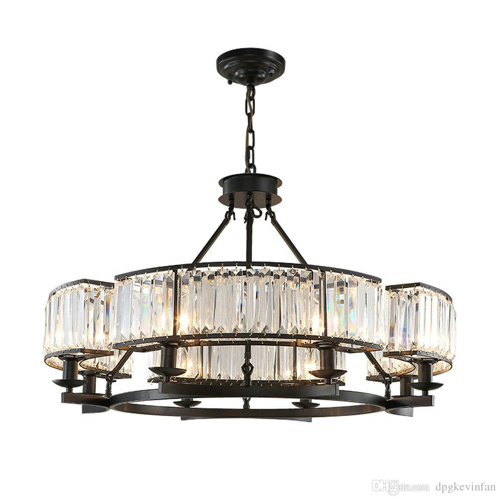 Vintage loft style crystal lighting fixture bronze black crystal chandelier lamp shade lamps for living room e14 led lamp