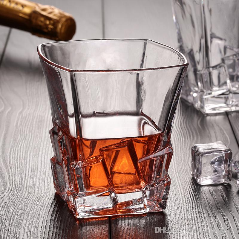 Wholesale Manufacturing Factory Price Crystal Square Bottom 250ml Whiskey Beer Red wine glass Idea For Party Decoration