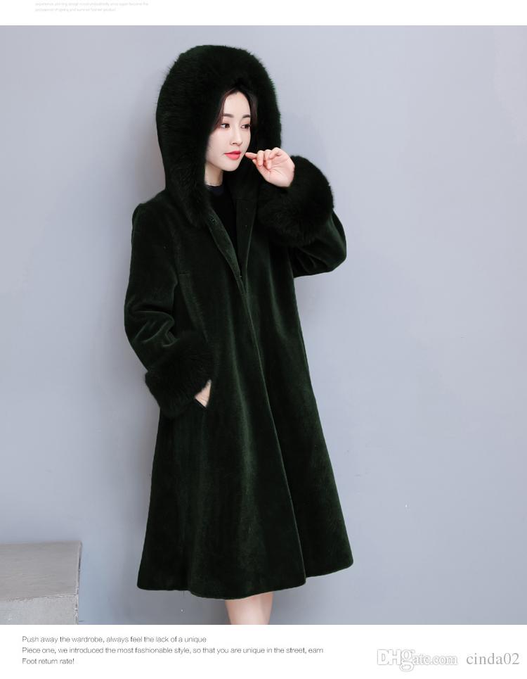 Manteau de l'hiver féminin Nouveau Big Robe Femme Taille fourrure vêtement rose Out manteau