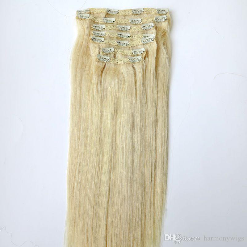 Clip en Extensions de Cheveux Cheveux Humains Brésiliens 20 22 pouces 60 # / Extensions de Cheveux Blonds Platine 260g / set