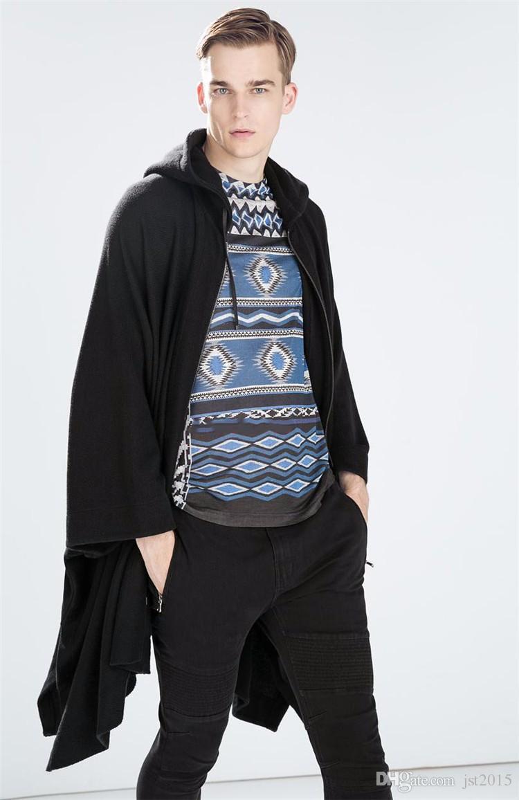 2016 Harajuku Gothic Clothing British Style Fashion Mens Wool Cloak Cape Long Black Hooded Trench Coat Men Windbreaker Overcoat
