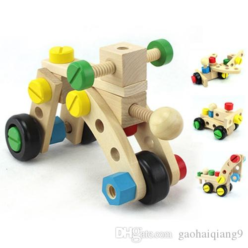 Magicaf Nut Car Combination Removable Toy Fun Wooden Toy Math Toy For Kids Baby Assembling Toys Disassembly Montessori Educational Toys