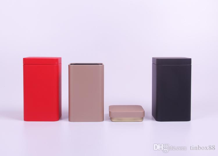 7.6*7.6*13.5cm square tea pot two color tin box sealing tin can metal container