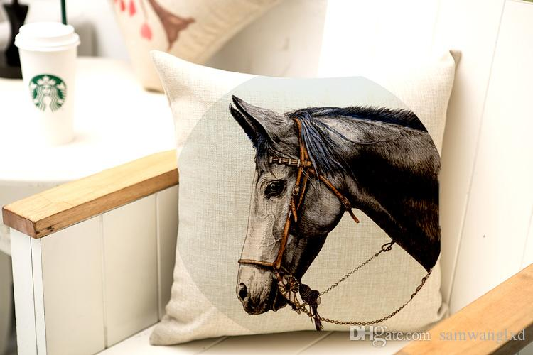 45*45cm Real High Qulity Horse Printed Decorative Cushion Cover Animal Style Throw Pillow Cover Car Seat Pillowcases Cotton Linen Square