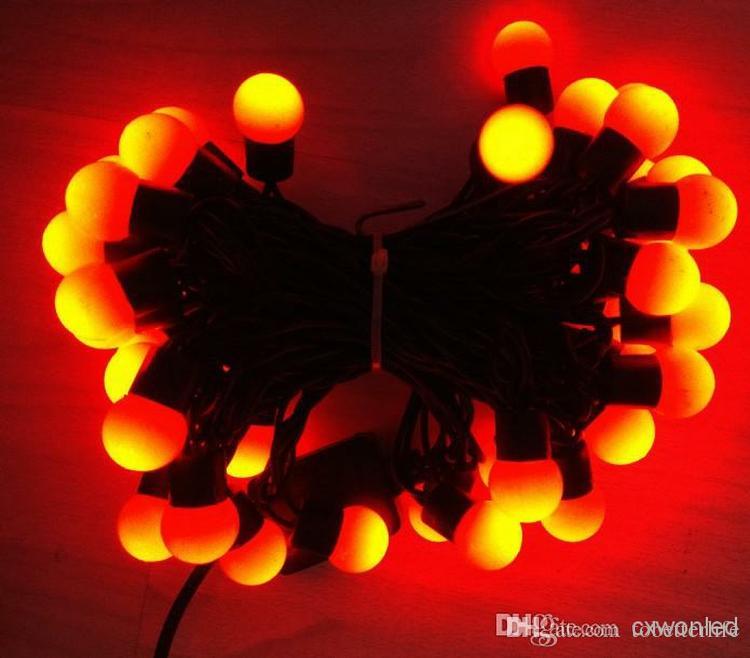 5M 50 LEDs 110v 220v Outdoor Lighting LED Ball String Lamp black Wire Christmas Light Fairy Wedding Garden Pendant Bulb
