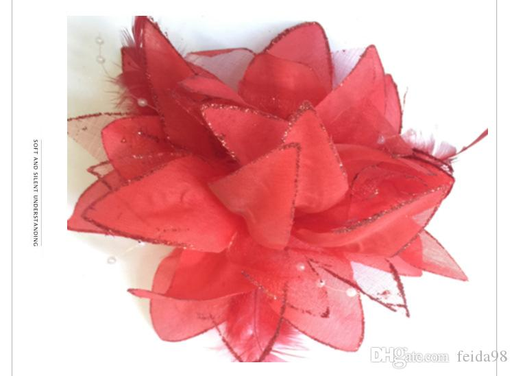 wedding bridal white sparkle rose Flower Feather Corsage hairwear Hair Clips pin Fascinator