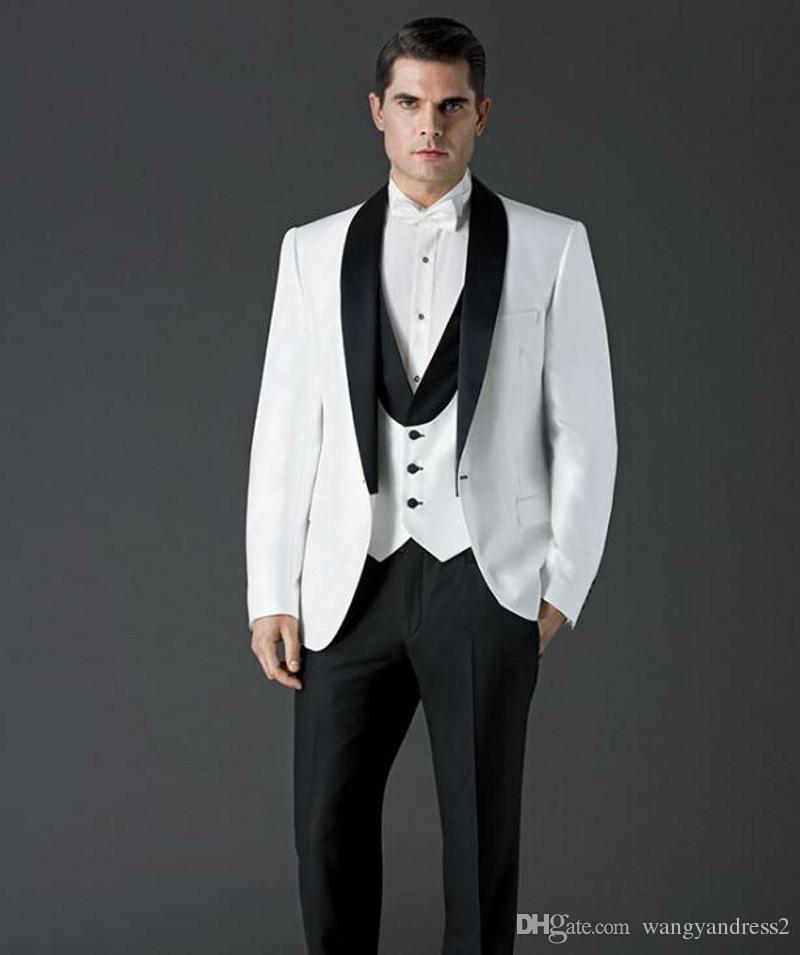 Os recém-chegados Custom Made Um botão de Casamento Ternos Xaile Lapela Smoking ternos Formais Negócios veste Melhor homem ternos Jacket + Pants + Coletes