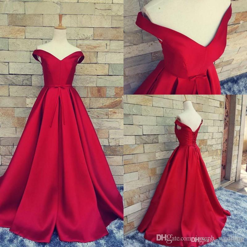 2017 Red A Line Evening Dresses vestidos de noiva V Neck Back Lace Up Formal Prom Gowns