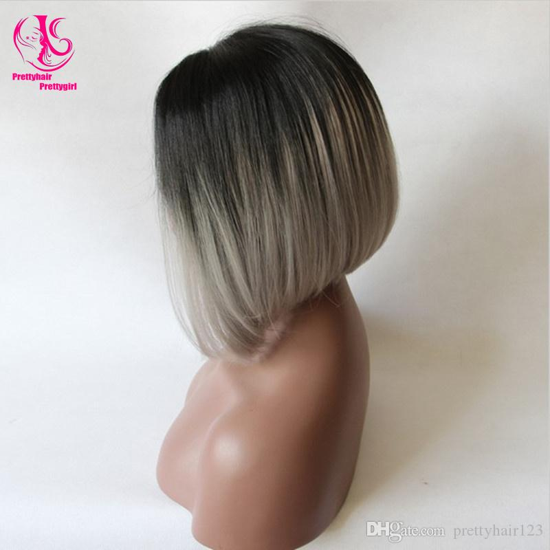 Cool Summer! Glueless Silk Straight bob wig Synthetic Lace Front Wig Ombre Tone Color Black to gray Short Bob Heat Resistant Wigs for woman