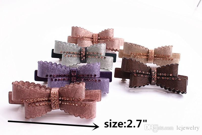 Hair barrettes New Arrive Bownot French Acetate Rhinestone Leaf hair clips crystal barrettes hairpins Hair Jewelry
