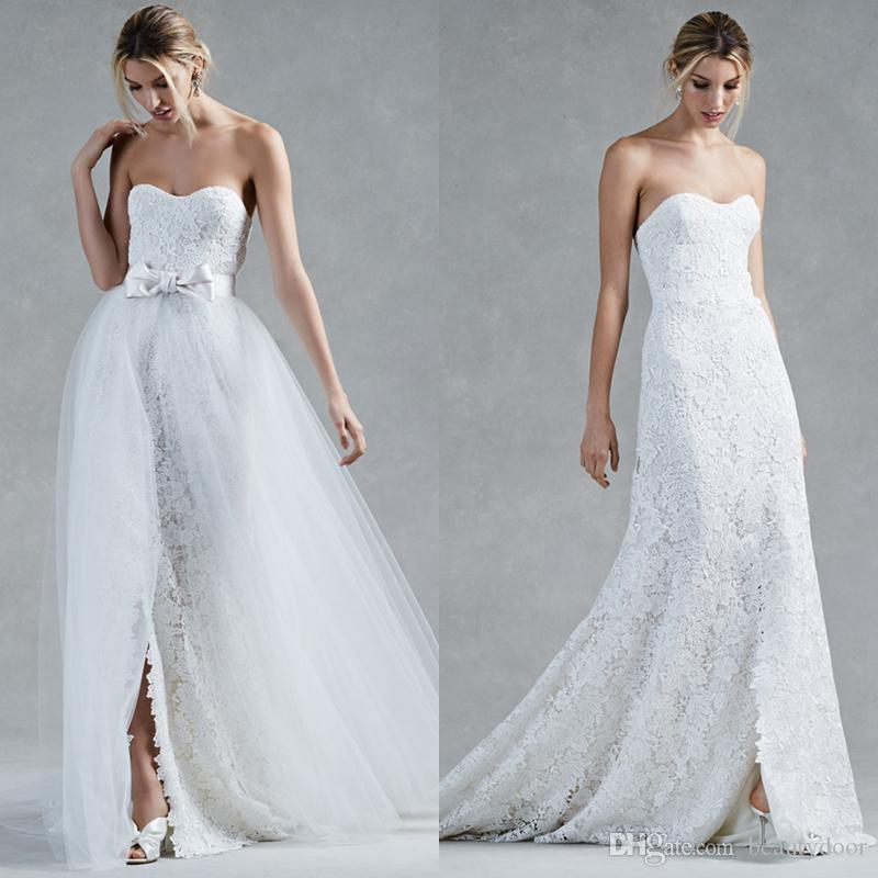 Discount Ivory Strapless Sweetheart Guipure Lace Wedding Dresses ...